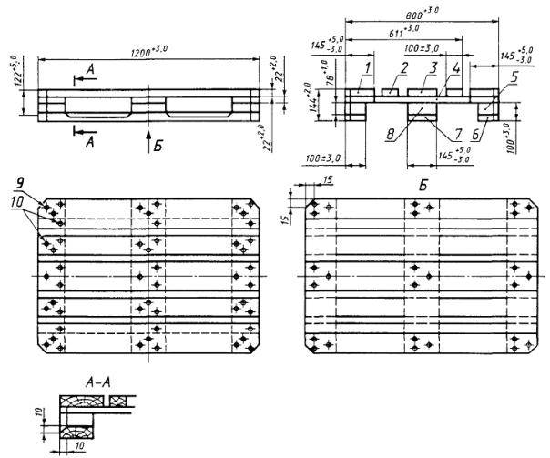 Поддон плоский деревянный размером 800х1200 мм. ГОСТ 9557-87. Схема.