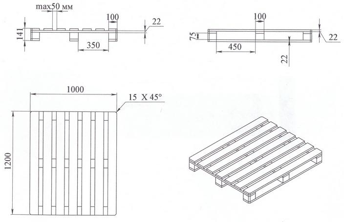 Деревянный европоддон размером 1200х1000 мм. ГОСТ 9078–84. Схема.